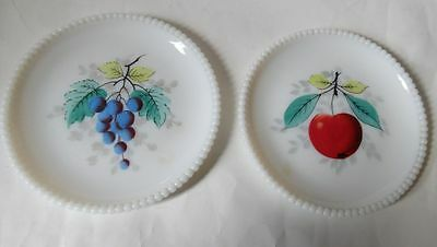 Pair Westmoreland Beaded Edge Milk Glass Plates With Fruit Apple & Grapes