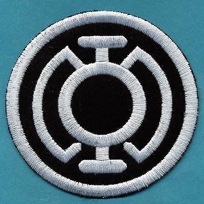 """3.5"""" Blue Lantern Corps Classic Style Embroidered Patch - White thread on Black"""