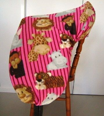 Horse Saddle cover Pink with zoo animals FREE EMBROIDERY Australian Made