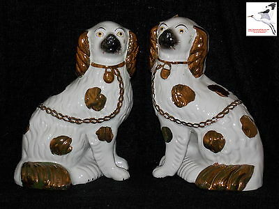Staffordshire Wally Dogs Separated Legs Mantlepiece Flat Backs Comforters c1840s