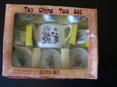 VINTAGE CHILD TOY CHINA TEA SET 12 PIECE 1950`S 60`S?WITH BOX MADE IN JAPAN L@@K
