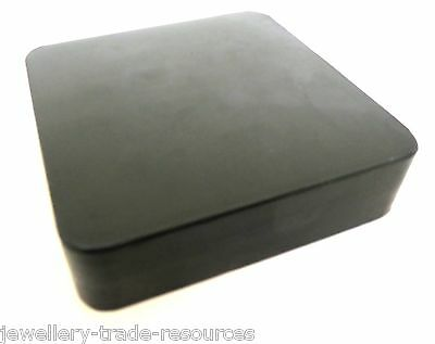 """4/"""" x 4/"""" x 1/"""" Hard Rubber Dapping Block Jewellers Bench Clay Silver Craft J1119"""