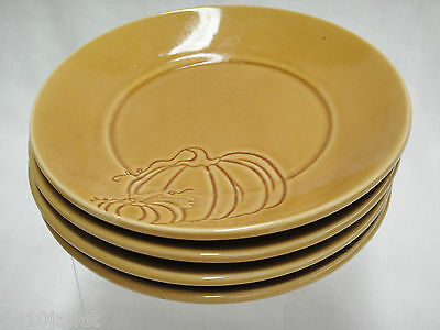 Pier One Harvest Gold Pumpkin Bread or Dessert Plate Lot of 4 HTF