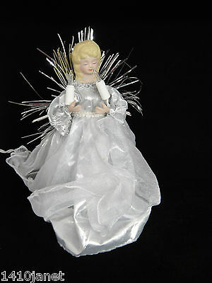 "Lighted Christmas Angel Silver Dress 8.5"" Lovely Decoration"