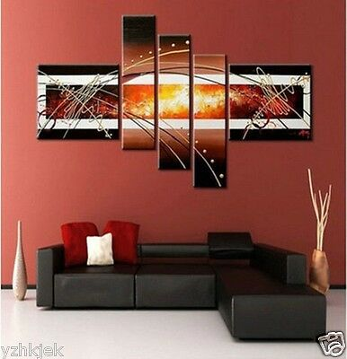 Beautiful ! 5PC MODERN ABSTRACT HUGE WALL ART OIL PAINTING ON CANVAS