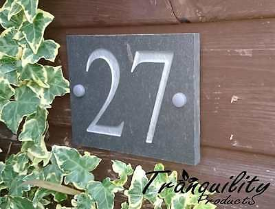 Engraved Natural Slate House Door Gate Number Sign Plaque 1 to 25 ANY NUMBER