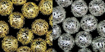 100 Pcs Gold & Silver Plated Metal Filigree Spacer Beads 4mm 6mm 8mm & 10mm ML