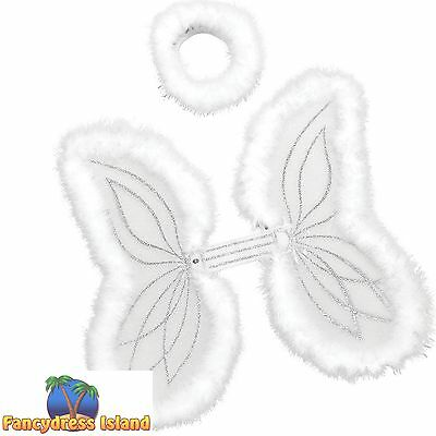ANGEL MARABOU CHRISTMAS WINGS & HALO SET - womens ladies fancy dress accessory