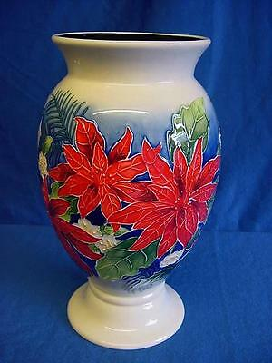 Old Tupton Ware Poinsettia Pattern Tubelined Porcelain Large Temple Vase 1285
