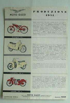 MOTO GUZZI  Motorcycle Specification Sheet  ITALIAN TEXT July 1951