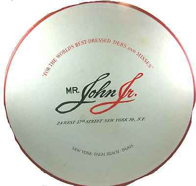 Vintage Mr John Hat Box Extra Large 1950S 17 Inch Red  White