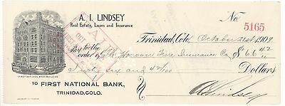 1908 FIRST NATIONAL BANK CHECK TRINIDAD COLORADO Arthur Lindsey of Aguilar MAYOR