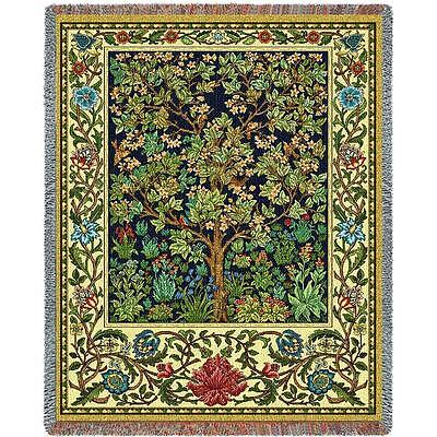 70x54 TREE OF LIFE Floral William Morris Tapestry Throw Blanket