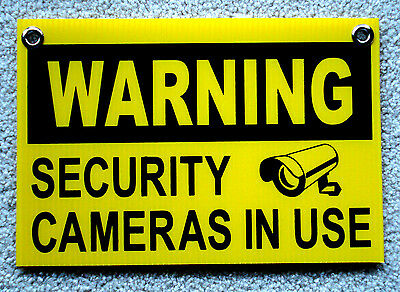 "WARNING SECURITY CAMERAS IN USE SIGN 8""x12""   NEW with Grommets  Surveillance"