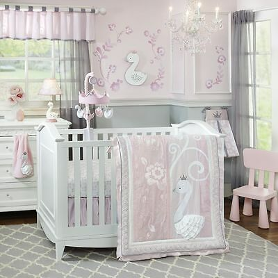 Lambs & Ivy Swan Lake 6 Piece Baby Nursery Crib Bedding Set w/ Bumper & Mobile