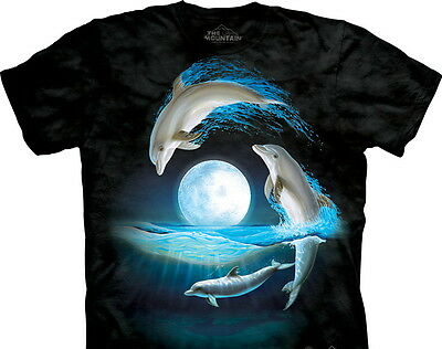 Over the Moon Jumping Dolphins Art Tie-Dye T-Shirt, NEW UNWORN