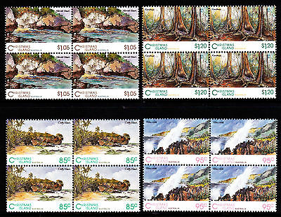 1993 Christmas Island Scenic Views - MUH Blocks of 4