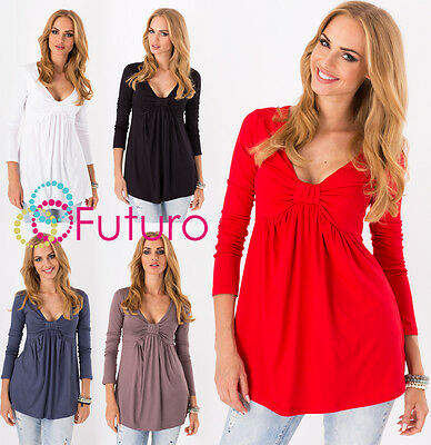 Women's Bubble Top V Neck Long Sleeve Tunic Casual Blouse Sizes 8-18 FU8549