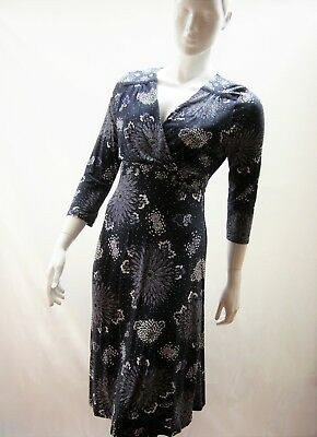 b366071258 New Per Una Marks & Spencer Navy/White Floral Stretch Jersey Tea Dress 12 To