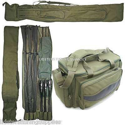 NGT Carp Green Insulated Fishing Bag + 3 + 3 MADE UP ROD AND REEL HOLDALL Set