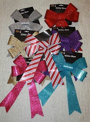 large glitter bows christmas tree decoration wreath hampers  floristry flowers