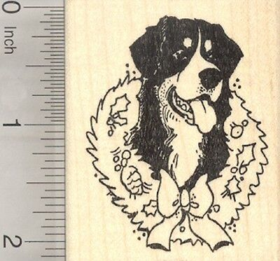 Christmas Bernese Mountain Dog Rubber Stamp, With Holiday Wreath  H25609 WM