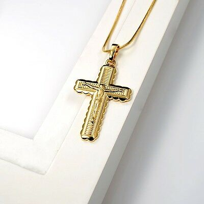 "18K Yellow Gold Filled Jesus cross 22*35 Pendant Necklace 20""Chain GF Jewelry"