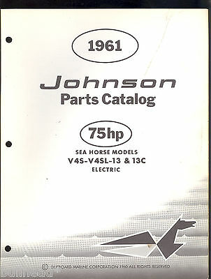 1961 Johnson 75Hp Outboard Motor  V42S-V4Sl-13-13C Parts Manual / 378463