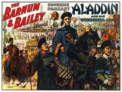 9130.The Barnum and Bailey.Aladdin and his lamp.POSTER.decor Home Office art