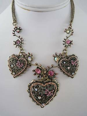 Betsey Johnson vintage pink crystal jewel heart bronze bow necklace, NWT