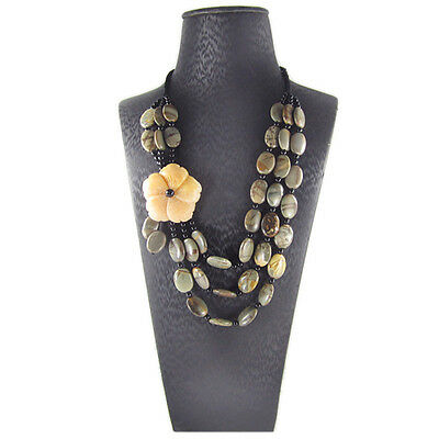 Carved Flower Hand-crocheted Necklace AH700430