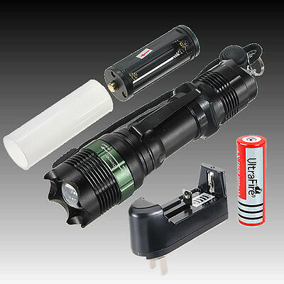 2000 Lumens CREE T6 LED ZOOMABLE Flashlight Lamp Torch 18650 Battery + Charger