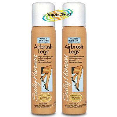 2x Sally Hansen Airbrush Air Brush Legs Spray MEDIUM GLOW 75ml
