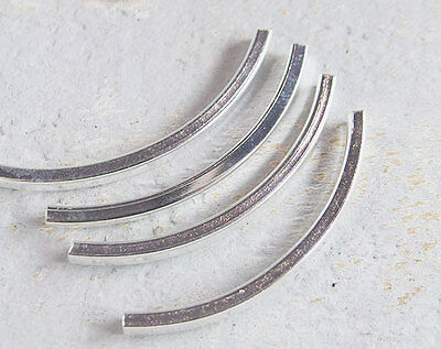 925 Sterling Silver 4 Curve Tube Beads 2.5x40 mm.