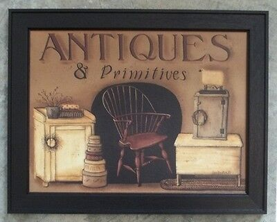 "ANTIQUES AND PRIMITIVES FRAMED PRINT WALL DECOR ART 14 1/2"" x 18 1/2"""