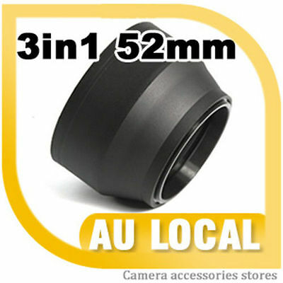 52mm 3-Stage 3-WAY Rubber Lens Hood FOR nikon 50mm f/1.8d AU LOCAL