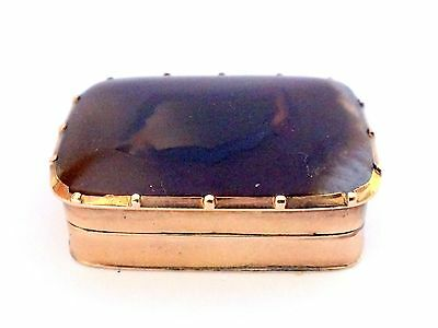SUPERB ANTIQUE 14K GOLD & AGATE GEM VINAIGRETTE BOX 19th  C.