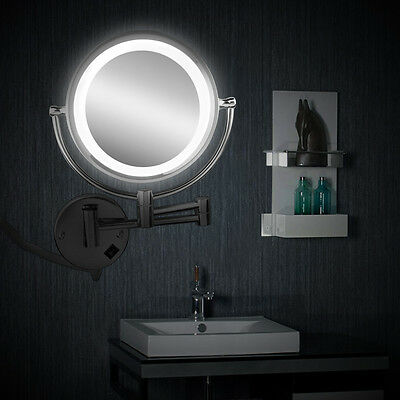DOUBLE SIDE MAKE UP SHAVING MIRROR ON STAND BATHROOM WITH LED LIGHT 10x MAGNIFY