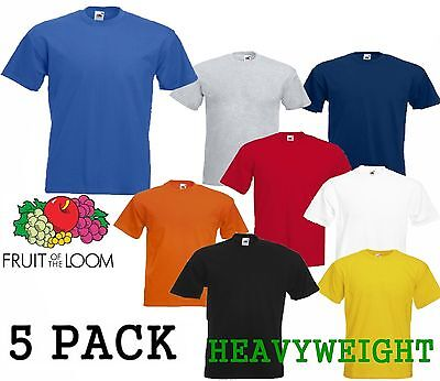 5 MENS FRUIT OF THE LOOM HEAVY COTTON T SHIRTS, CHOOSE YOUR PACK COLOUR & SIZE