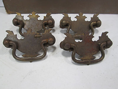 4 Vintage Small Brass Toned Metal Chippendale Drawer Pulls #129