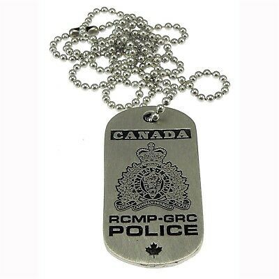 RCMP Canada Royal Canadian Mounted Police Crest Pewter Dog Tag Neck Chain