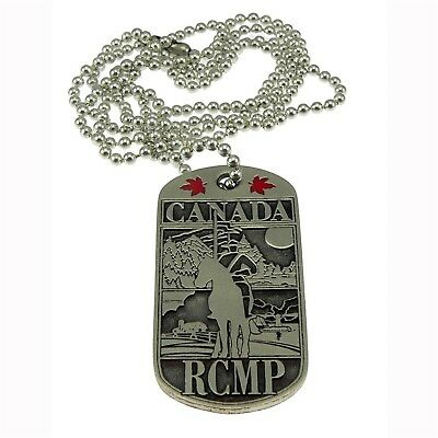 RCMP Canada Royal Canadian Mounted Police Horse Scene Pewter Dog Tag Neck Chain