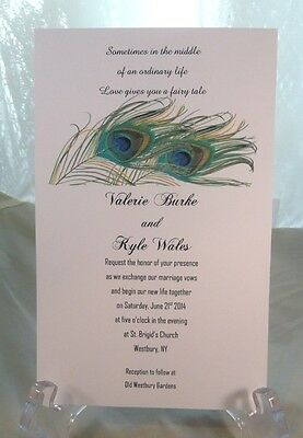 50 PEACOCK WEDDING INVITATIONS CUSTOMIZED AND PERSONALIZED FOR YOU