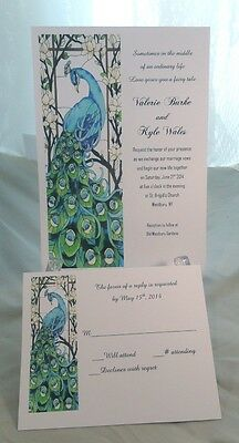 50 PEACOCK WEDDING INVITATIONS + 50 RSVP CARDS CUSTOMIZED AND PERSONALIZED 4 U