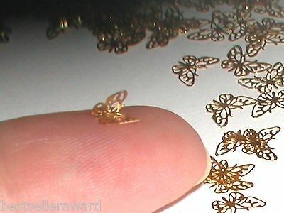 12pc Tiny metal Butterfly bendable rare charm fairy glitter golden findings *~