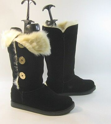 Blacks round toe winter mid-calf boot side gold button  fur inside .Size. 10