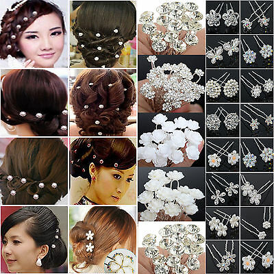 N Fashion 20/40Pcs Wedding Bridal Bridemaid Pearl Flower Crystal Hair Pins Clips
