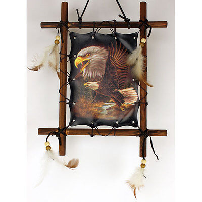"""11""""x 9"""" Eagle Soaring Dream Catcher Wall Hanging Decor Feathers Framed Beads"""