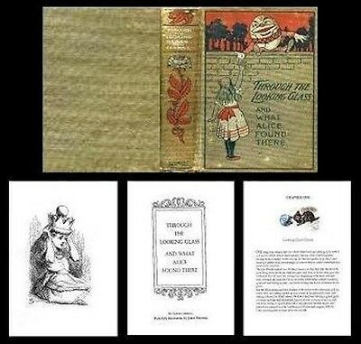 Handcrafted Illustrated Book Through The Looking Glass Dollhouse Miniatures