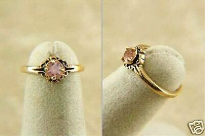 CHILDS or TEENS Ring PINK Amethyst CZ Sz US 3, 6, Gold Plated Ring Kids or Lady